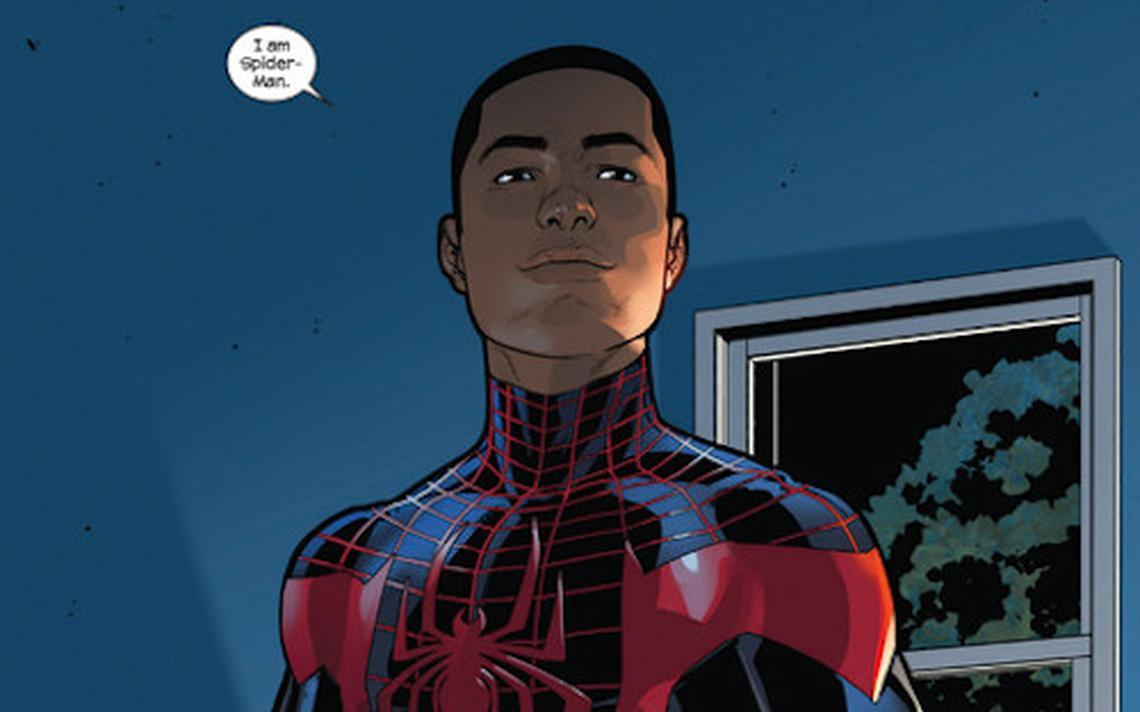 Ilustração do super-herói Homem-Aranha, que está sem máscara dentro de uma casa e diz:
