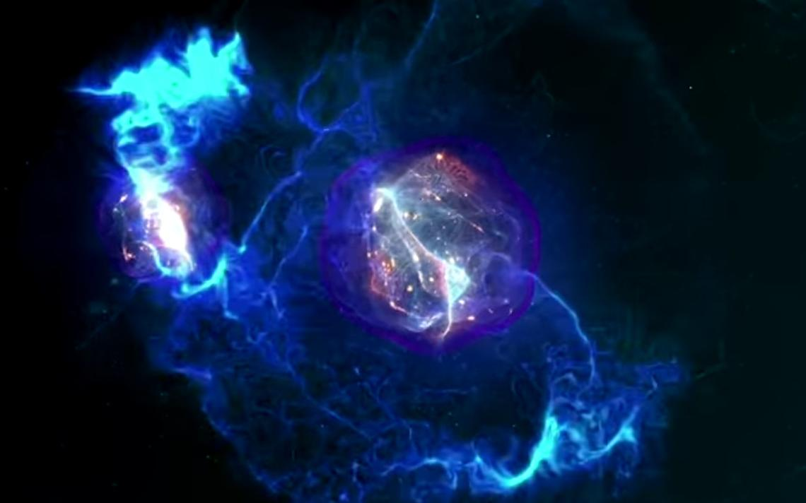 Pesquisadores afirmam que obtiveram hidrogênio metálico, na imagem, uma representação de uma molécula de hidrogênio gasoso