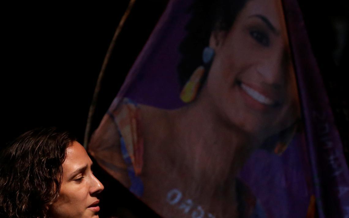 Monica Benício, companheira de Merielle, em ato de homenagem à vereadora