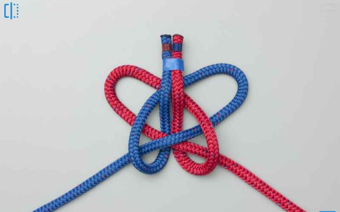Nó 'alpine butterfly bend' usado para amarrar duas cordas uma com a outra
