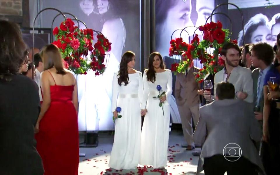 Casamento da personagem Clara na novela Em Família