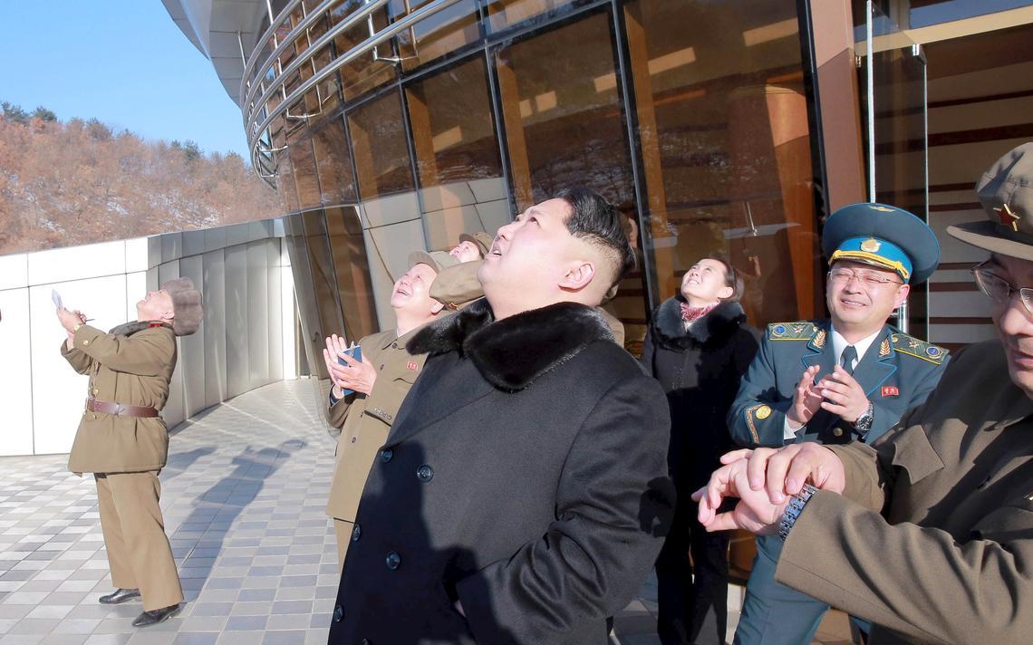 Kim Jong-un em lançamento de foguete