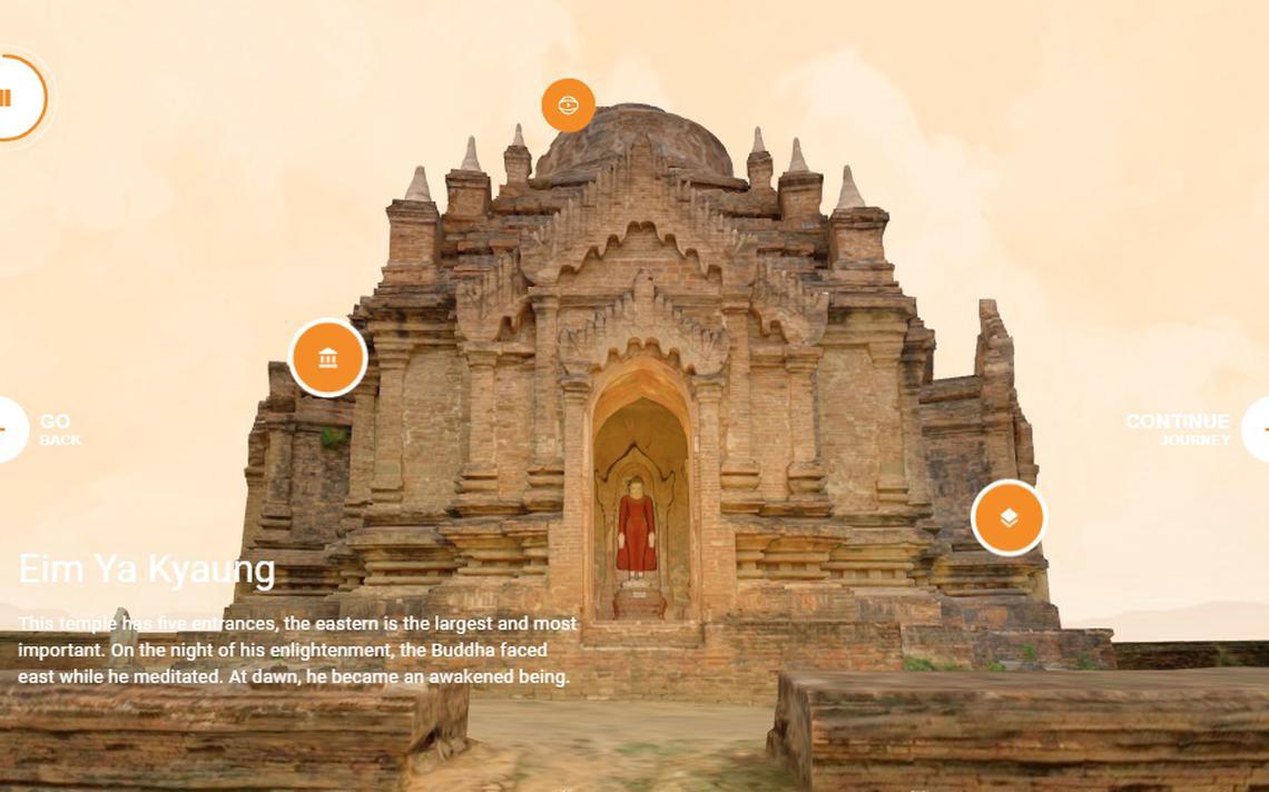 Imagem da entrada de um dos prédios do complexo de Bagan, presente na Open Heritage