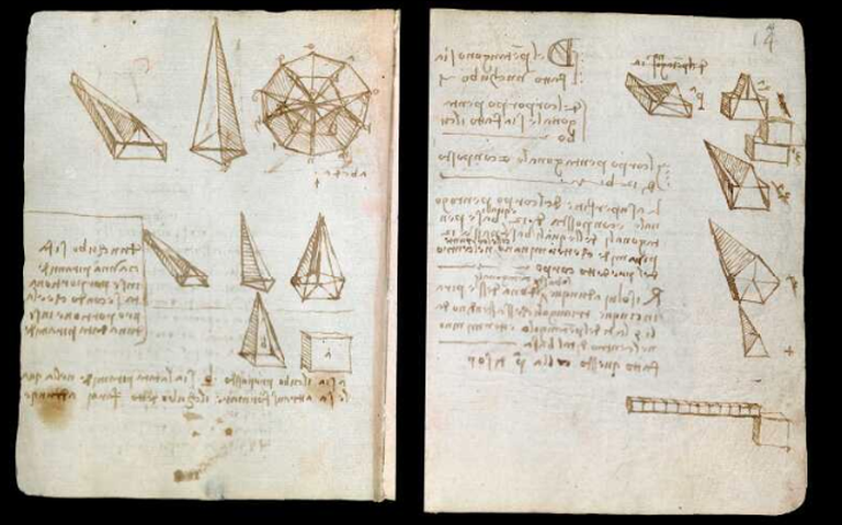 Páginas de anotação usadas por Leonardo da Vinci