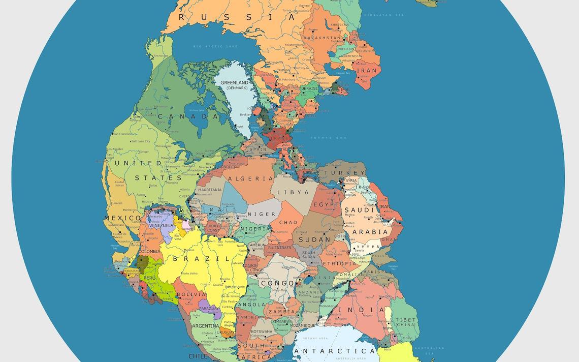 Mapa da Pangeia mostra onde ficariam os países no supercontinente