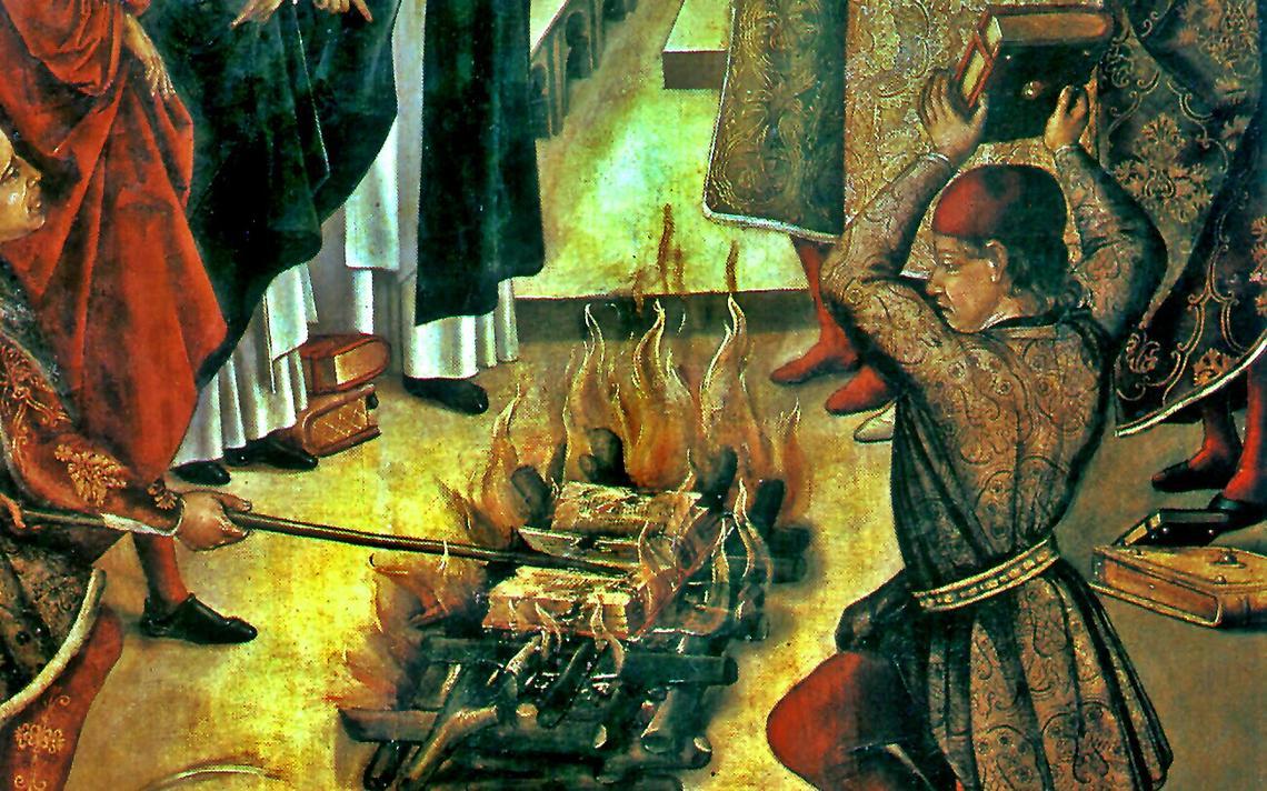 Pintura de Pedro Berruguete retrata queima de livros por católicos. 1493-1499.