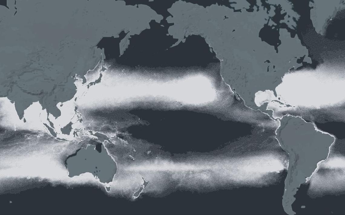 Mapa mostra concentração de plástico na superfície dos oceanos do mundo