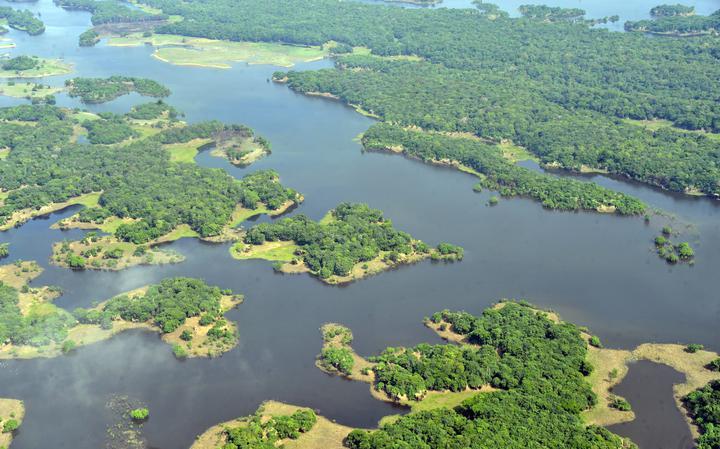 Vista aérea do Rio Solimões, na Amazônia