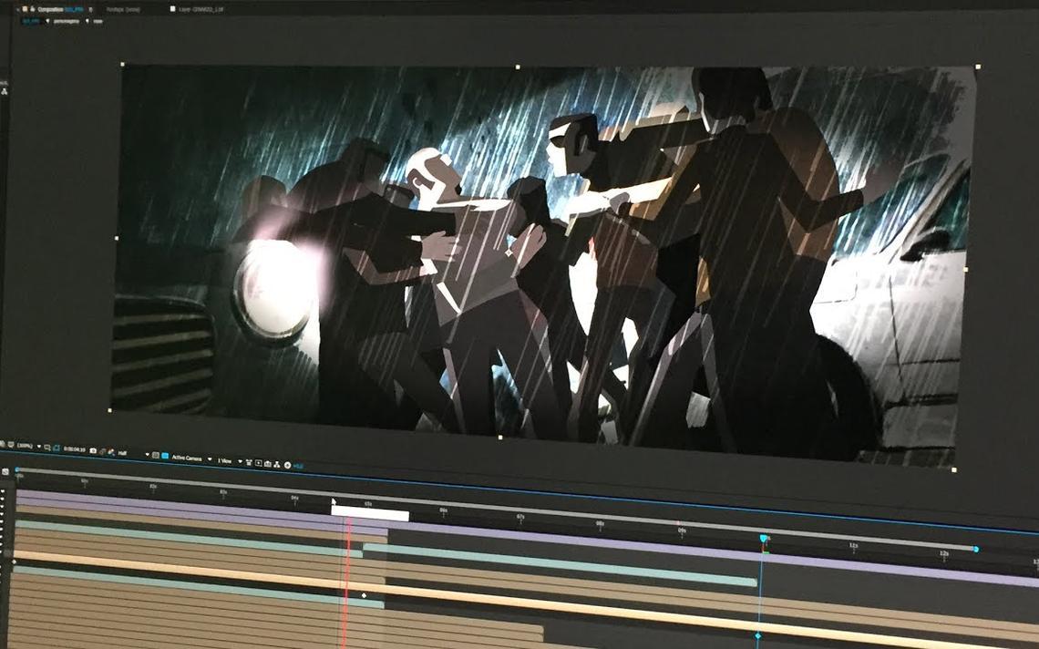 Imagem de um software de edição de vídeo, com a produção do curta-metragem 'Estilhaços'.
