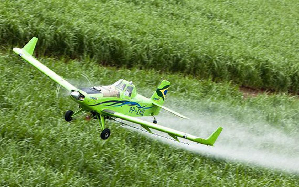 Avião pulveriza área agrícola