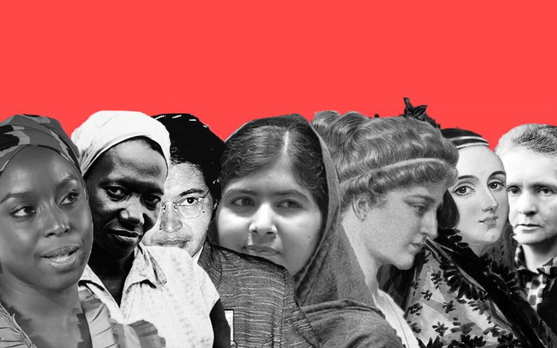Montagem de mulheres como Carolina Maria de Jesus, Malala e Ada Lovelace