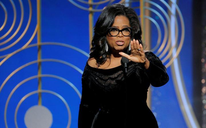 Atriz e apresentadora Oprah Winfrey durante discurso no Globo de Ouro