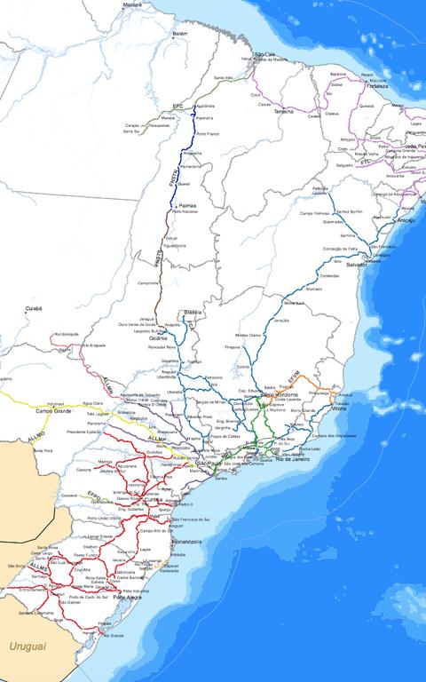 Atual malha ferroviária brasileira