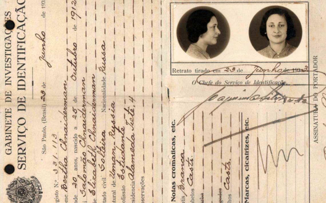Registro de Bertha Chnaiderman, uma das raras estudantes mulheres da Politécnica, de 1933