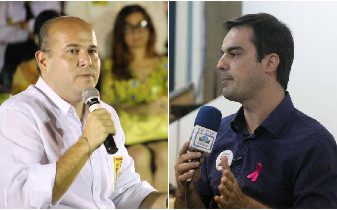 Candidatos à Prefeitura de Fortaleza (a partir da esq.) Roberto Cláudio, do PDT, e Capitão Wagner, do PR