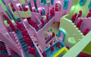 Figuras vestindo macacões rosas sobem escadas com curvas labirínticas