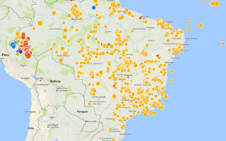 Sismos registrados no Brasil entre 2007 e 2017, segundo mapa do Observatório Sismológico da UnB