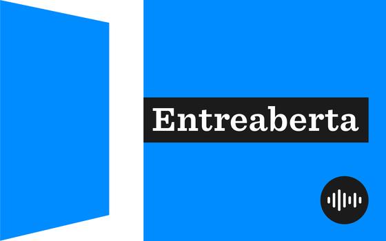 Ilustração do podcast Entreaberta, em azul e branco, com tipologia branca em fundo preto