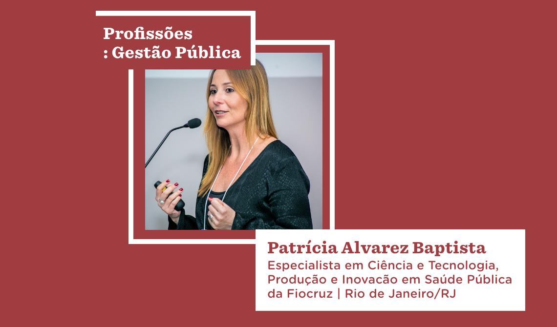 Retrato de Patrícia Batista falando em microfone, acompanhado de sua ficha de informações
