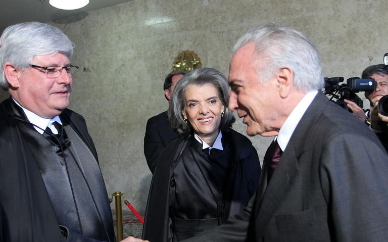 Janot e Temer participam da posse de Cármen Lúcia na presidência do Supremo em setembro de 2016