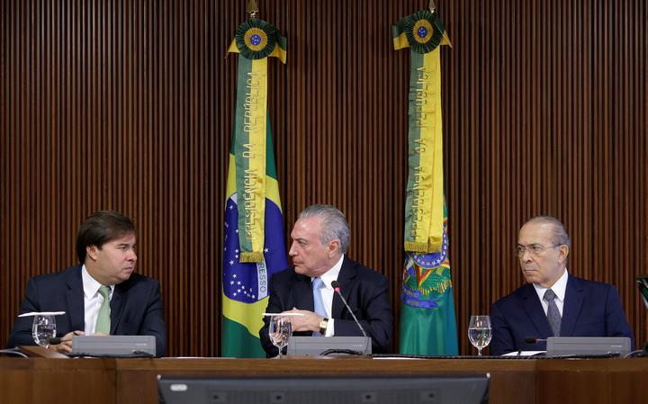 Presidente da Câmara, Rodrigo Maia, presidente Michel Temer e o ministro da Casa Civil, Eliseu Padilha