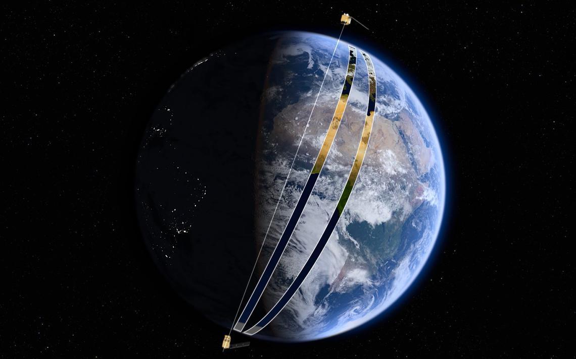 Concepção artística dos satélites da família Sentinel, da ESA, fazendo varredura da Terra