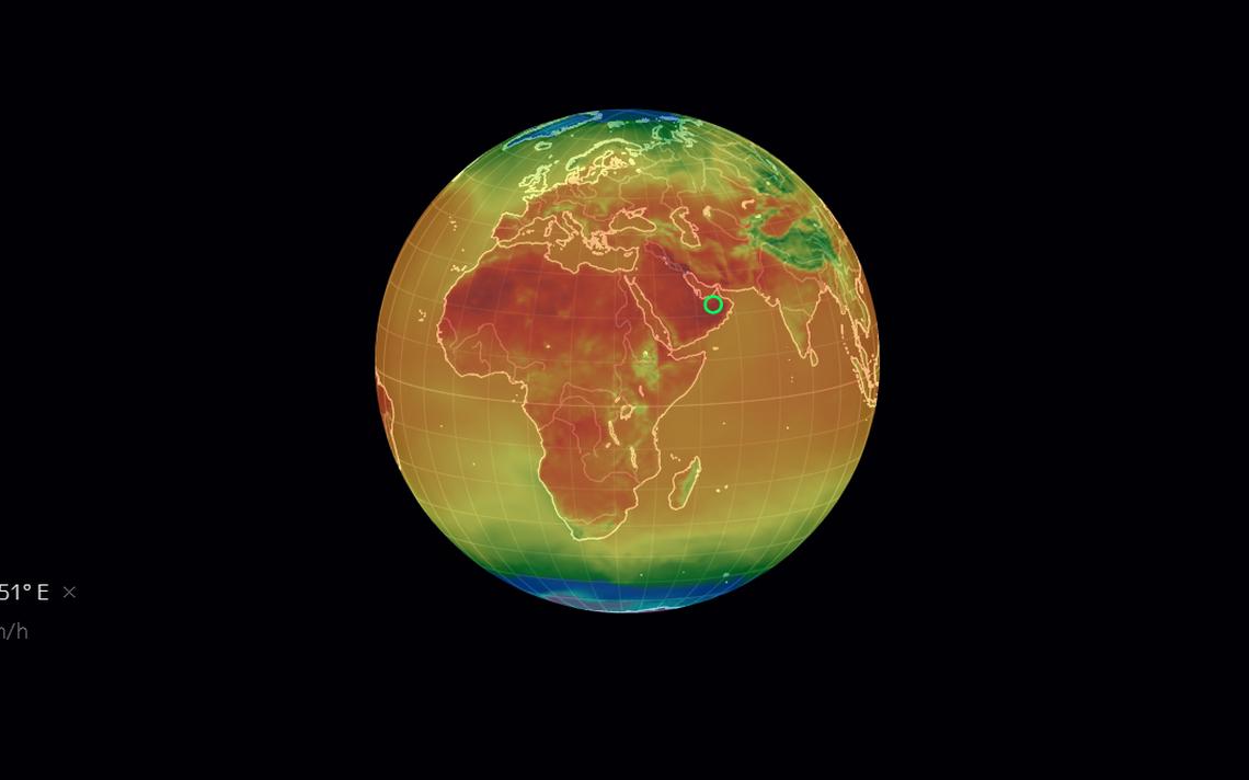 Imagem do mapa 'Earth', que mostra a distribuição de calor na Terra