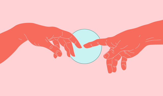 Num fundo rosa, duas mãos quase se tocam formando um círculo azul ao redor dessas mãos