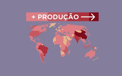 A produção de tabaco nos países do mundo