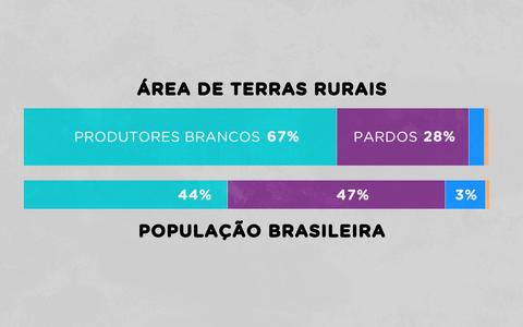 Como estão distribuídas as terras rurais pela cor dos produtores