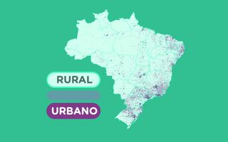 Mapa mostrando as áreas urbanas e rurais do Brasil, segundo o IBGE