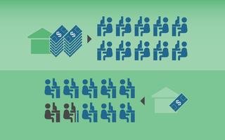 Ilustração com pictogramas representando o acesso a internet. O primeiro grupo de ícones representa as famílias com mais renda, o segundo, o grupo com menos renda. Com fundo verde, os pictogramas azul representam os jovens com acesso a internet, os pretos a ausência do acesso.