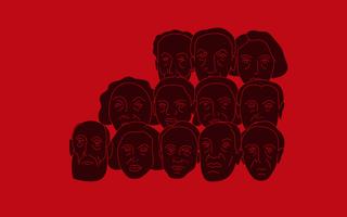 Ilustração com pessoas de variadas ascendências num fundo vermelho