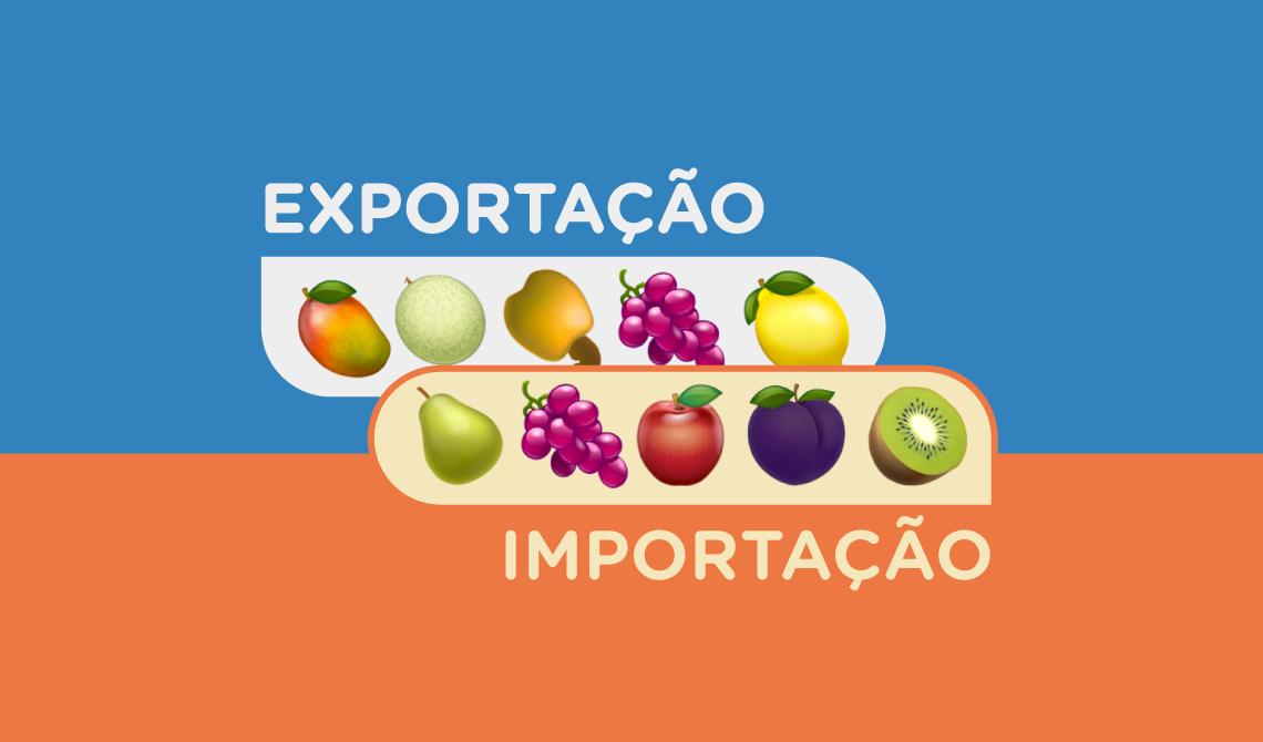 Dois balões, um sobre um fundo azul e outro sobre um fundo laranja. Dentro do primeiro balão, desenhos das frutas que o Brasil mais exporta: manga, melão, caju, uva e limão. Dentro do segundo balão, desenhos das frutas que o Brasil mais importa: pera, uva, maça, ameixa e kiwi.