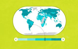 Ilustração o mapa mundi indicando uma porcentagem