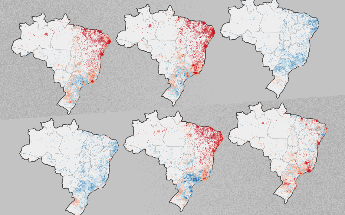 Um histórico das disputas presidenciais desde 1989, em mapas