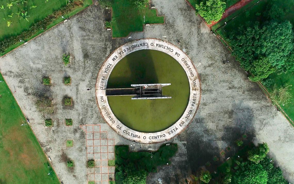 Vista aérea da Praça do Relógio, no campus da USP