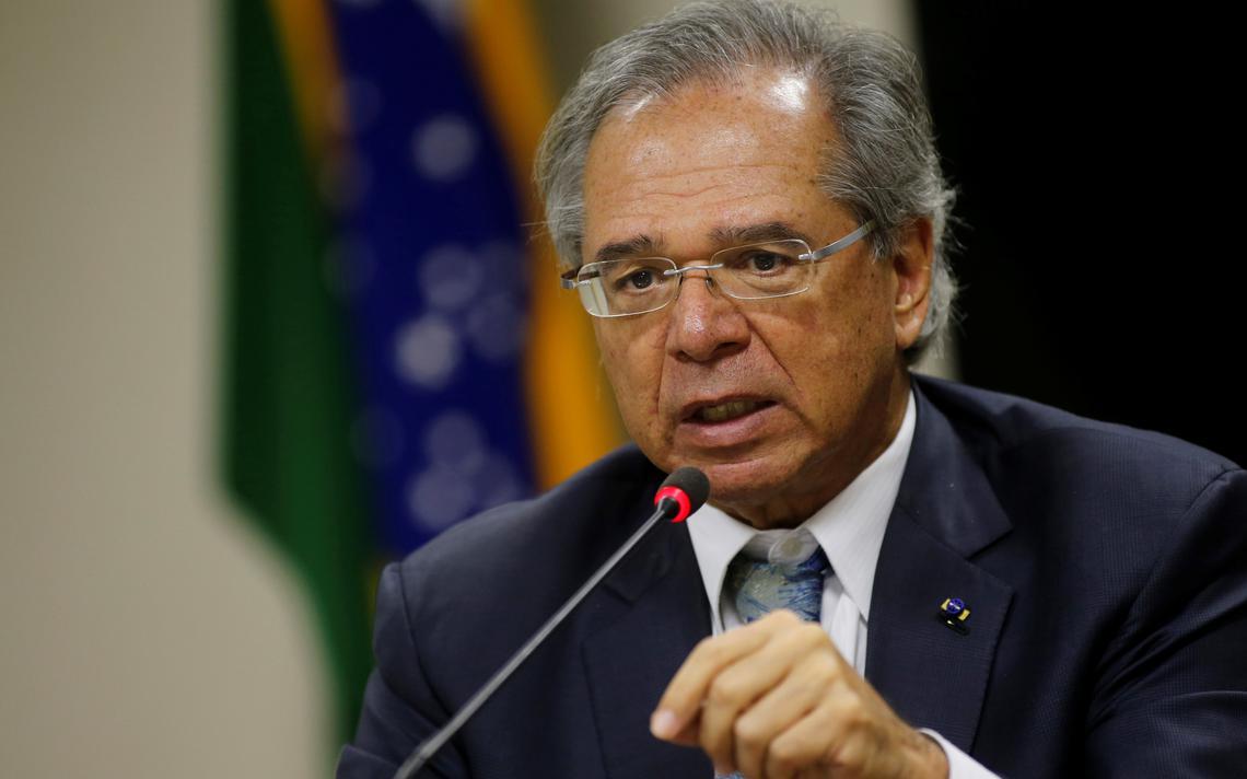 Paulo Guedes durante uma entrevista coletiva em Brasília
