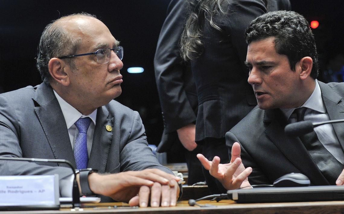 Gilmar e Sérgio Moro antes de debate no Senado sobre abuso de autoridade