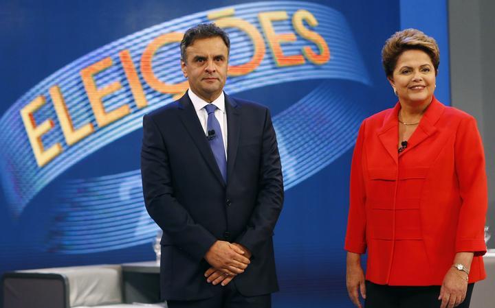 Candidatos à Presidência no último debate antes do 2° turno das eleições em 2014