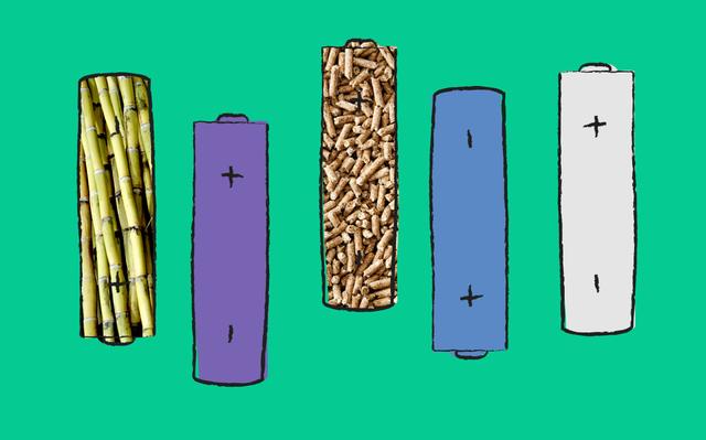 Ilustração que mostra cinco pilhas. No interior de duas delas há fotos de biocombustíveis, a cana e os pellets de madeira.