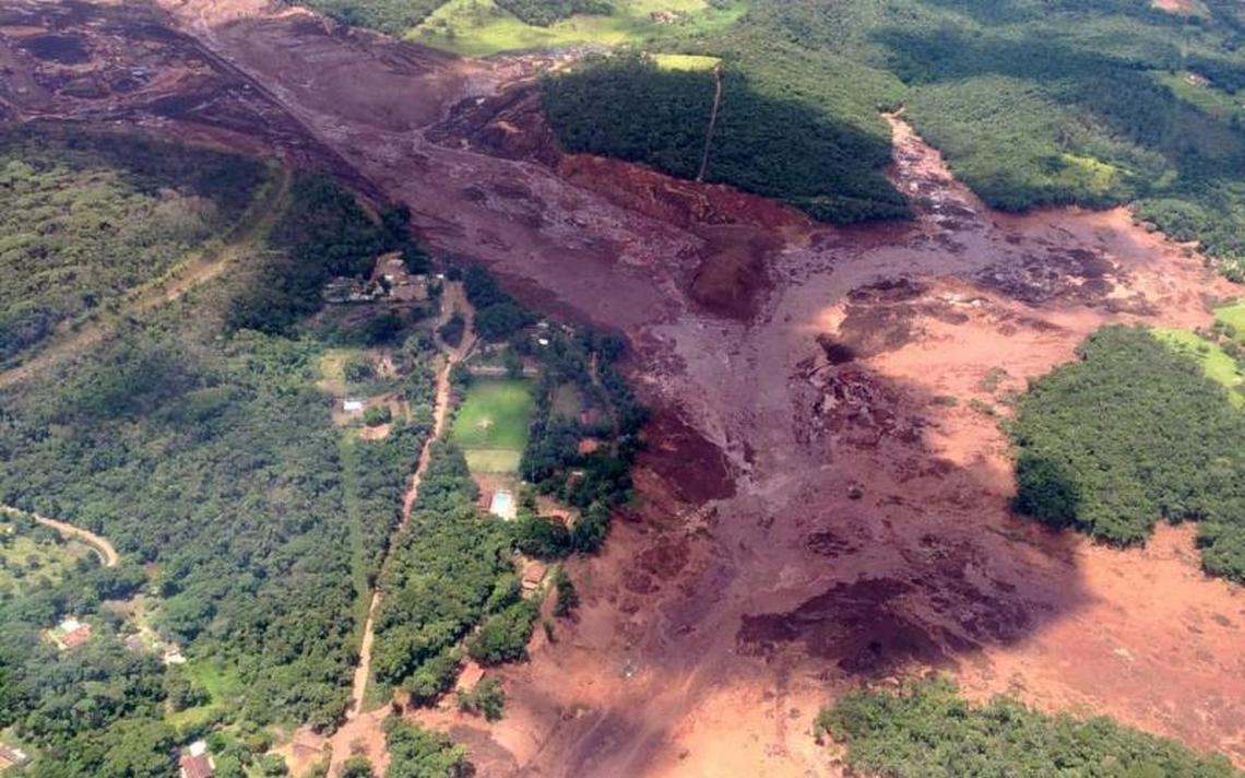 Imagem aérea da cidade de Brumadinho após o rompimentos de barragens da Vale