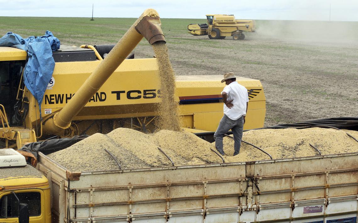 Caminhão carregado de soja em fazenda na cidade de Primaveta do Leste, no Mato Grosso