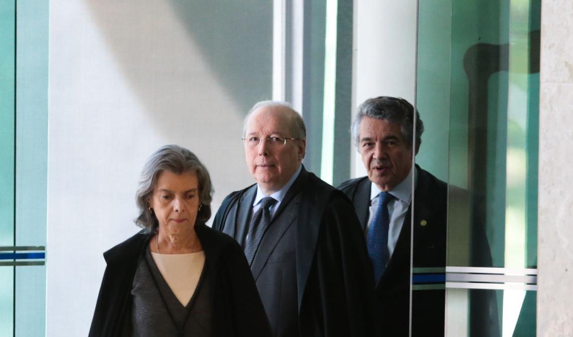 Cármen Lúcia, Celso de Mello e Marco Aurélio chegam para sessão no STF