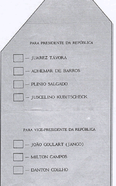 Cédula de votação utilizada no pleito de 1955