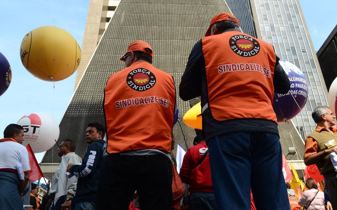 Ato de centrais sindicais em São Paulo