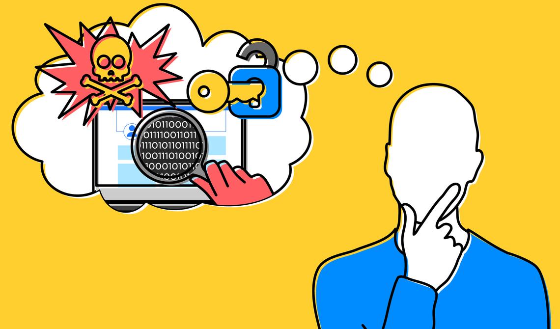 Uma ilustração que mostra um homem pensativo e um computador criptografado