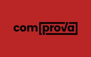 Logo do projeto Comprova sobre um fundo vermelho.