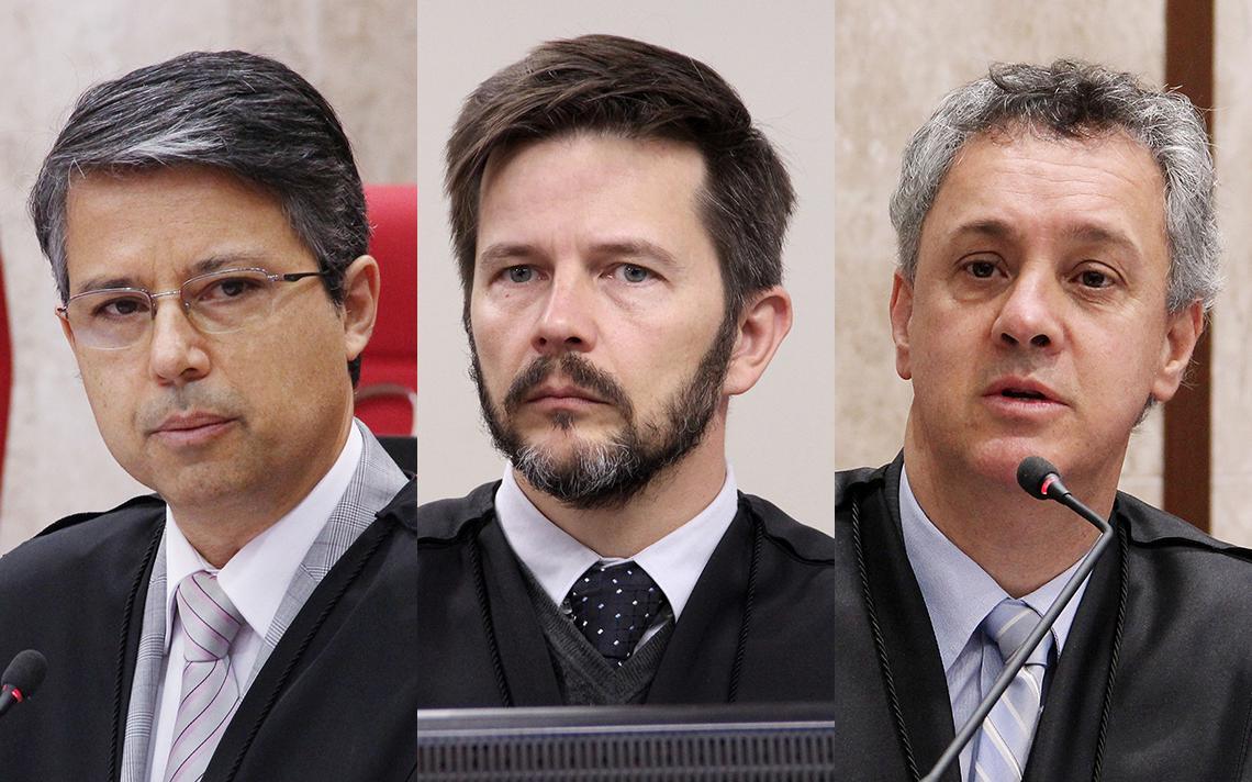 Desembargadores que julgarão Lula no TRF-4: Victor Laus (esq.), Leandro Paulsen (centro) e Gebran Neto (dir.)