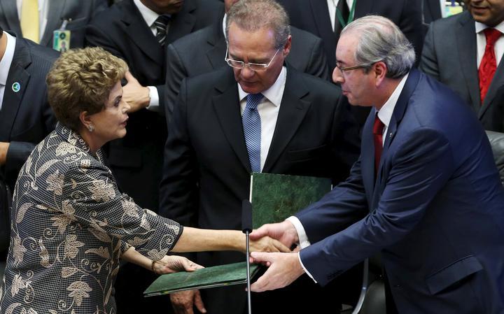 Dilma, Renan e Cunha em visita da presidente ao Congresso Nacional